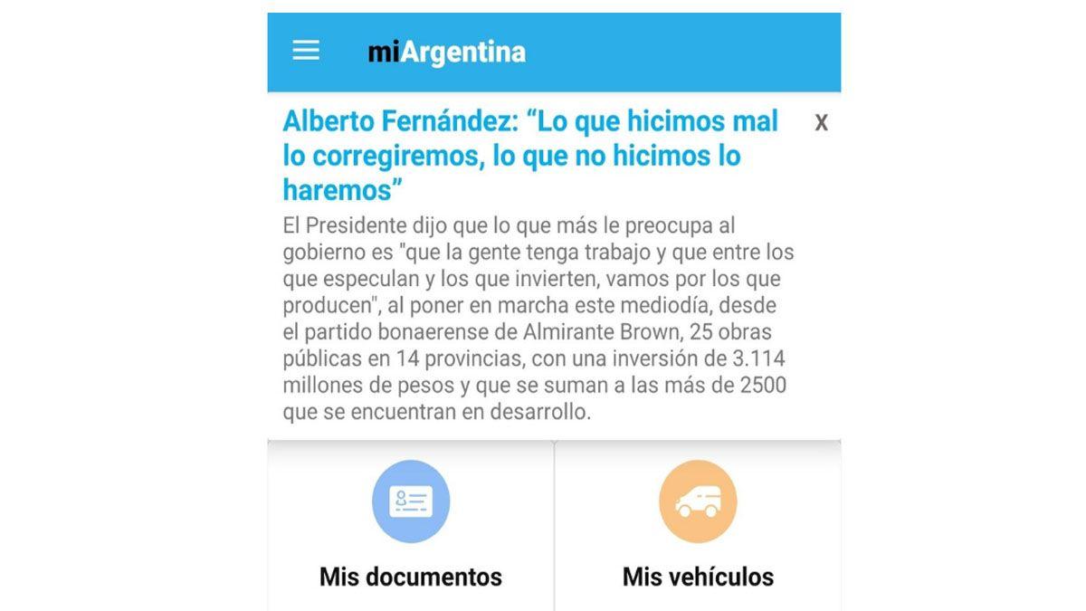 Mensaje que apareció en la aplicación Mi Argentina
