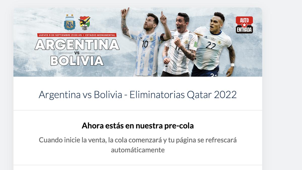 La cola para sacar la entrada para el Argentina-Bolivia.