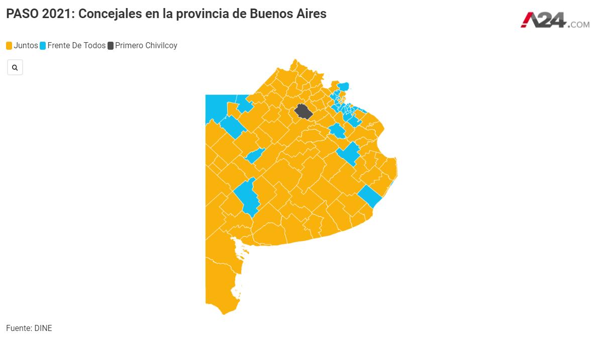 Elecciones 2021 a concejales en la provincia de Buenos Aires (Imagen: Centro de Datos de A24.com)