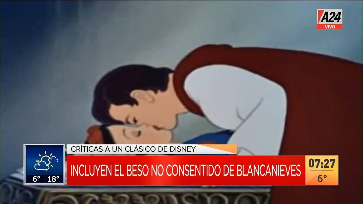 Este es el clásico beso que recibe Blancanieves y que no habría dado su consentimiento al Príncipe Azul (Foto: captura de TV).