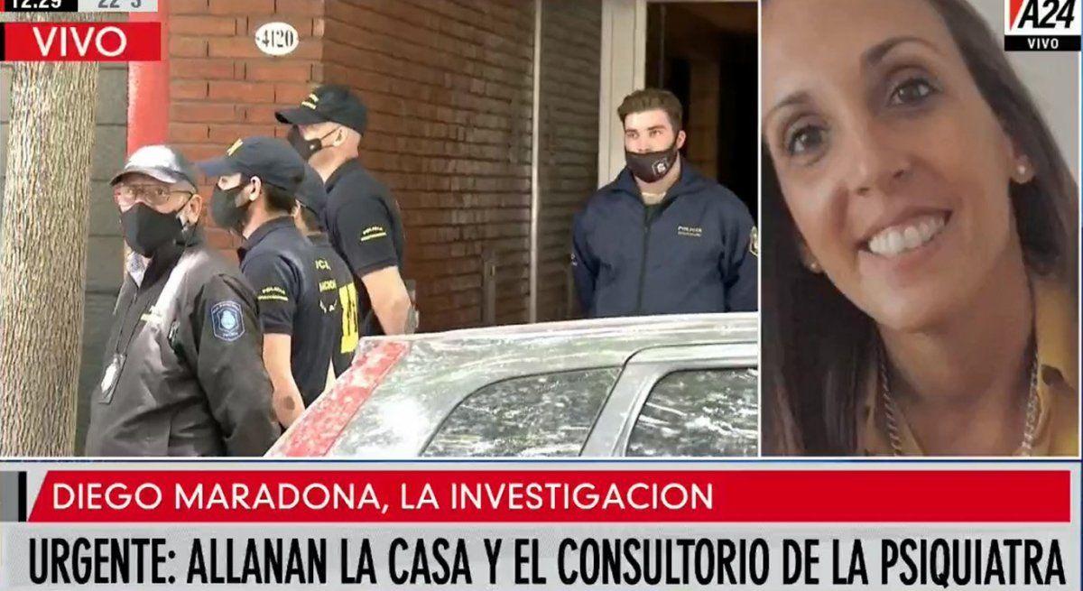 Allanan el domicilio y el consultorio de la psiquiatra de Diego Maradona