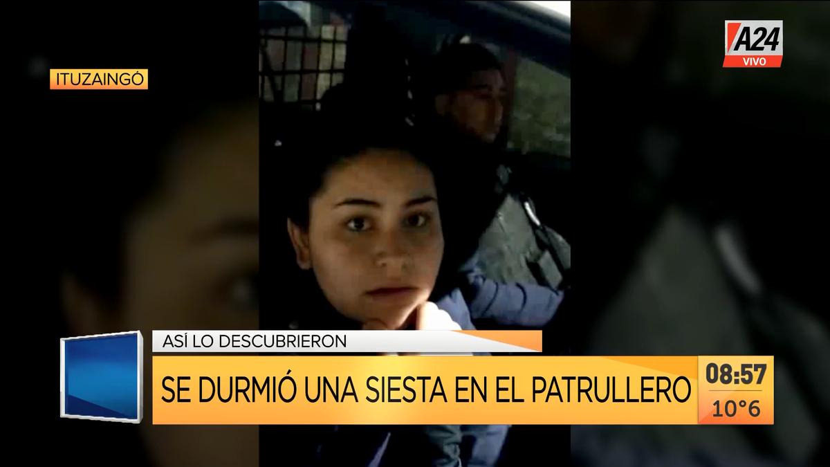 Ituzaingó: así escracharon a policías que dormían en un robo. (Captura de Tv)