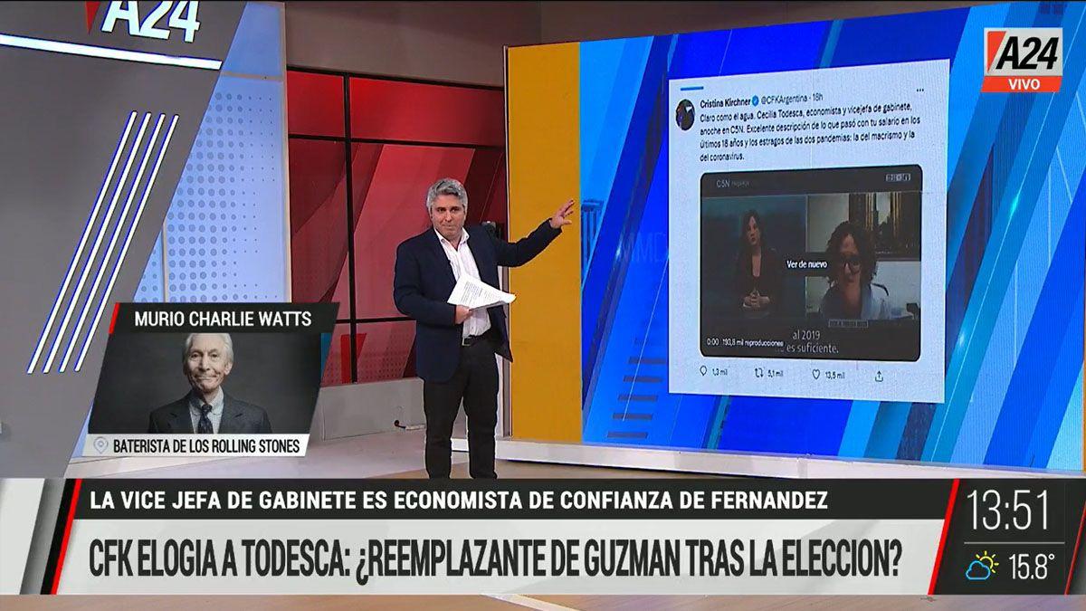 ¿Cristina ya tiene un nombre para reemplazar a Guzmán después de las elecciones? (Foto: Captura de TV)