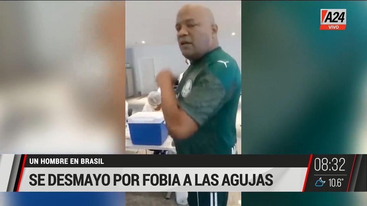 El hombre viral tras desmayarse por su fobia a las agujas. (Captura de Tv)