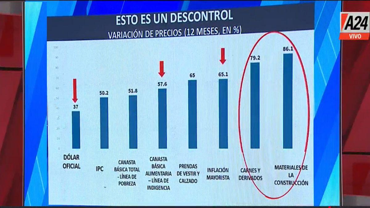 El dólar oficial subió solo un 37% mientras que la inflación general ya va por el 50% y los alimentos treparon al 57,6% anualizado (Foto: Captura de TV)