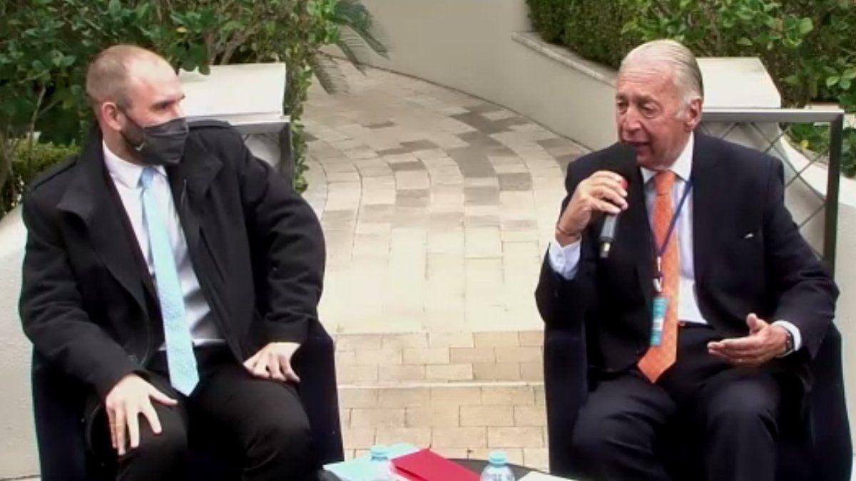 El ministro de Economía Martín Guzmán junto al anfitrión y presidente del CICYP