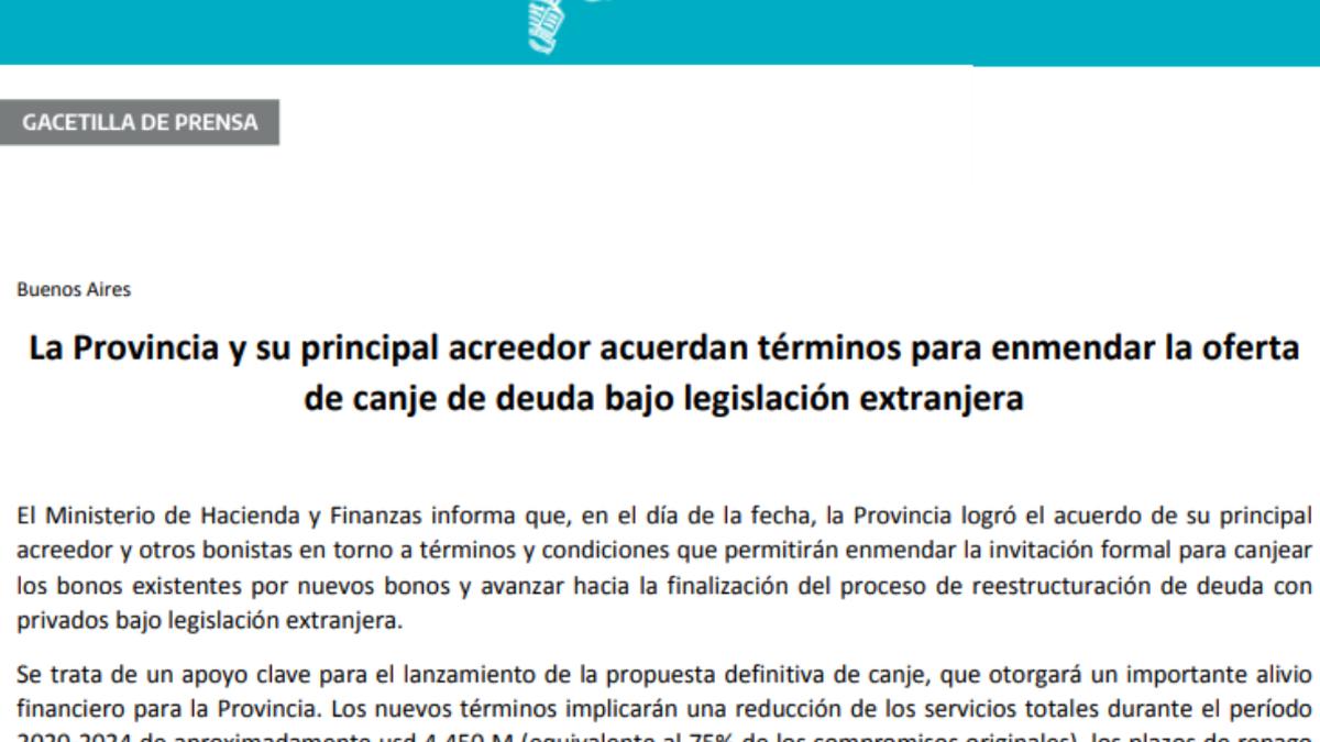 Acuerdo entre la Provincia y su principal acreedor por la deuda privada en el extranjero