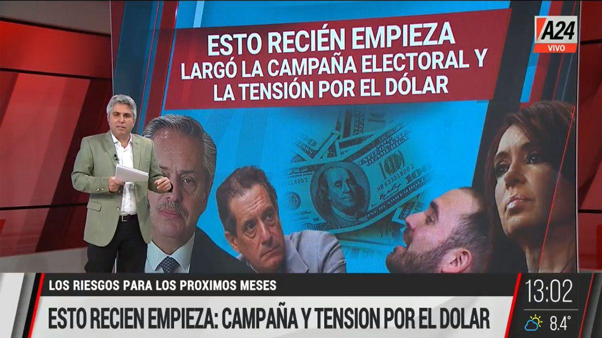 En el inicio de la campaña electoral el gobierno tiene la preocupación de la suba del dólar que empuja a la inflación (Foto: Captura de TV)