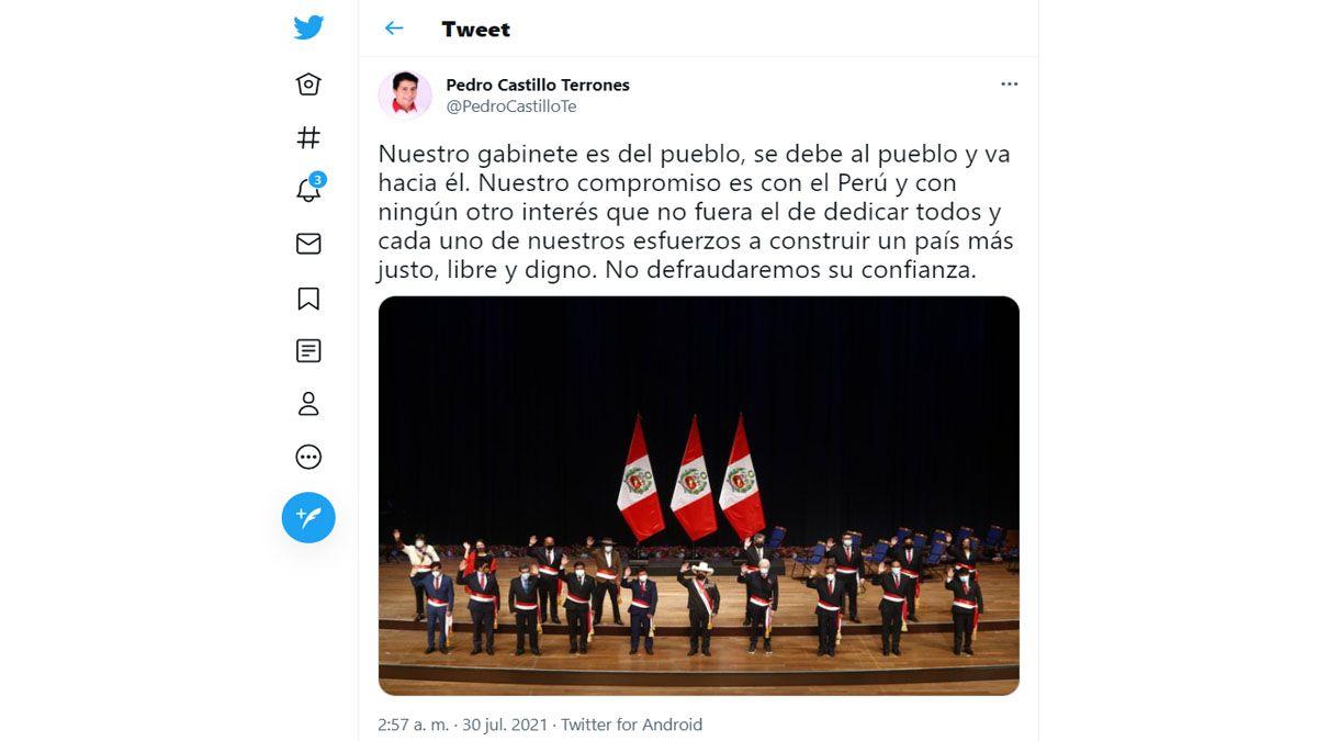 Pedro Castillo defendió la conformación de su gabinete de gobierno. Aunque todavía no tiene ministro de Economía (Foto: Cuenta oficial de Pedro Castillo)