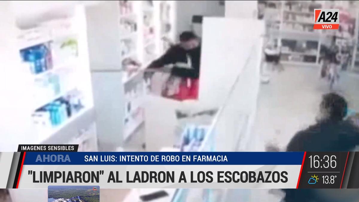 Los ladrones fueron sorprendidos por la reacción de los comerciantes y los clientes que frustraron el asalto (Fuente: captura de TV).