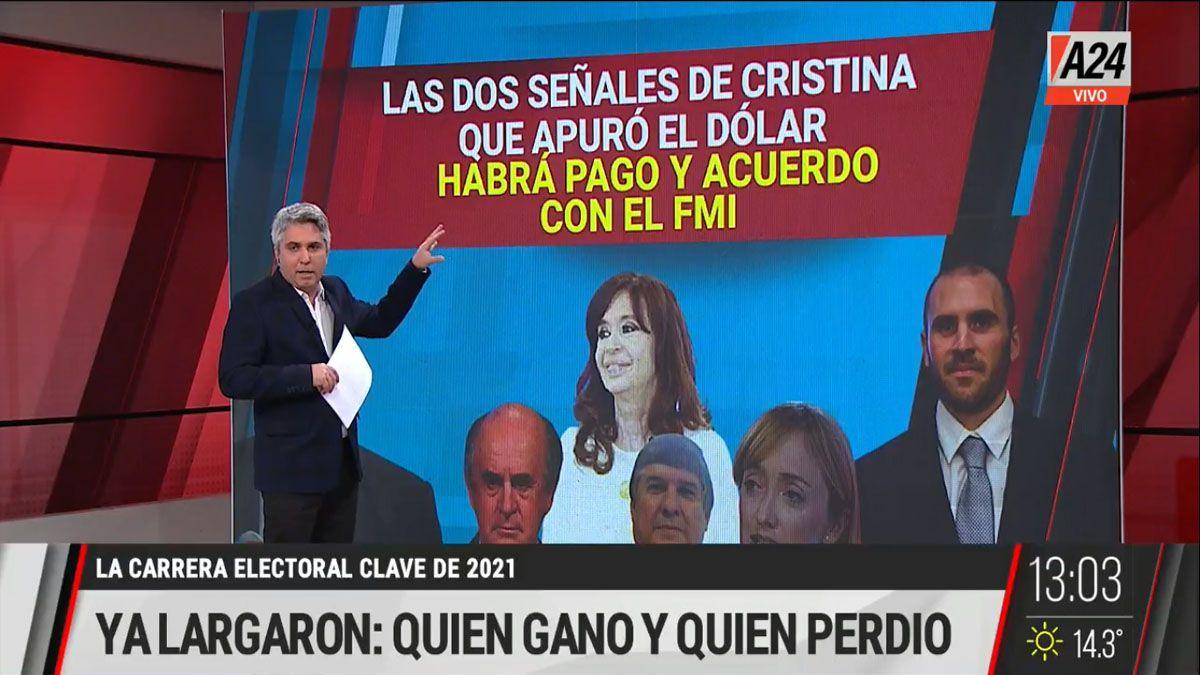 Cristina Fernández de Kirchner aceptó que hay un acuerdo en marcha con el FMI y que no habrá default (Foto: Captura TV)