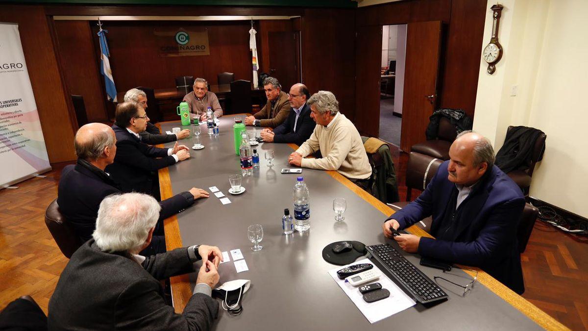 La reunión de la Mesa de Enlace con los exportadores de carne, este miércoles en Coninagro.