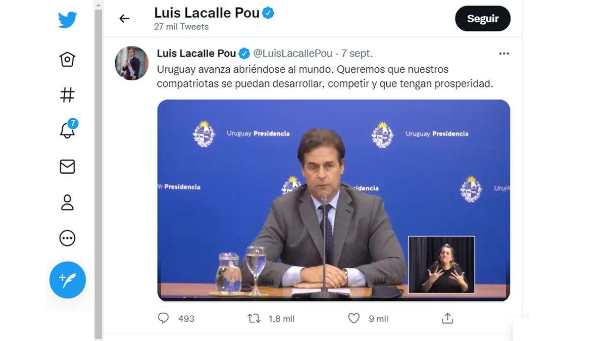 Luis Lacalle Pou defendió las negociaciones por un Tratado de Comercio con China, más allá del Mercosur (Foto: Cuenta oficial de Lacalle Pou en Twitter)