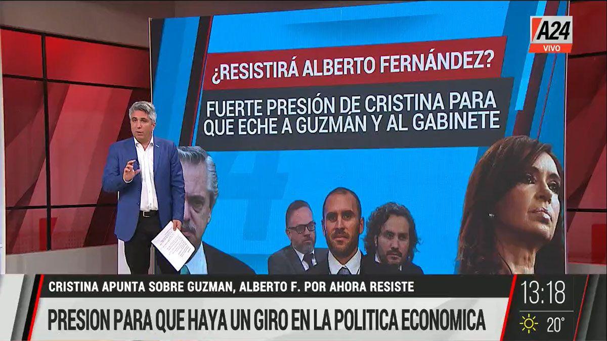 Enormes presiones contra la continuidad del ministro Guzmán y gran parte del gabinete de Alberto Fernández (Foto: Captura de TV)