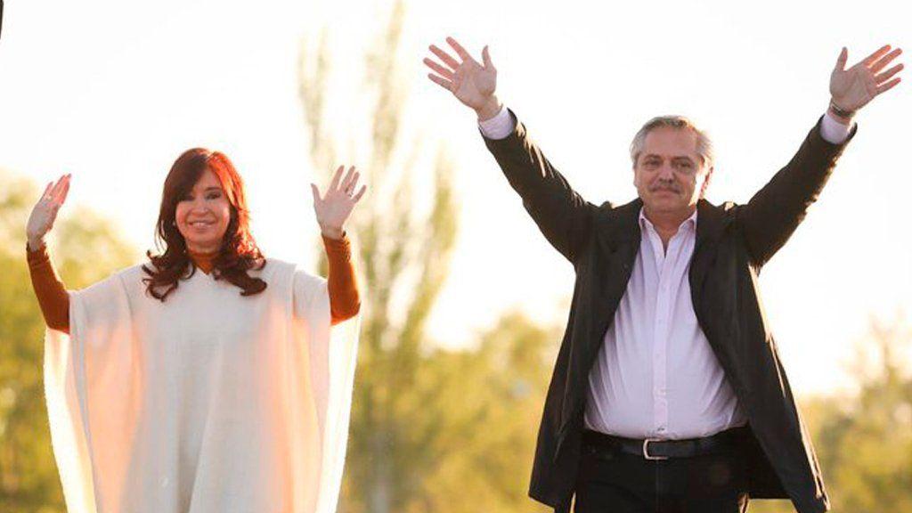 Alberto Fernández y Cristina Kirchner en La Pampa