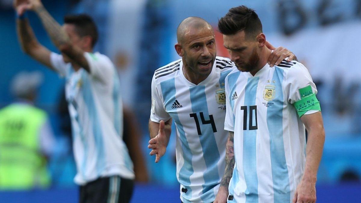 Javier Mascherano y Lionel Messi en el último mundial de Rusia 2018. Foto: Archivo.