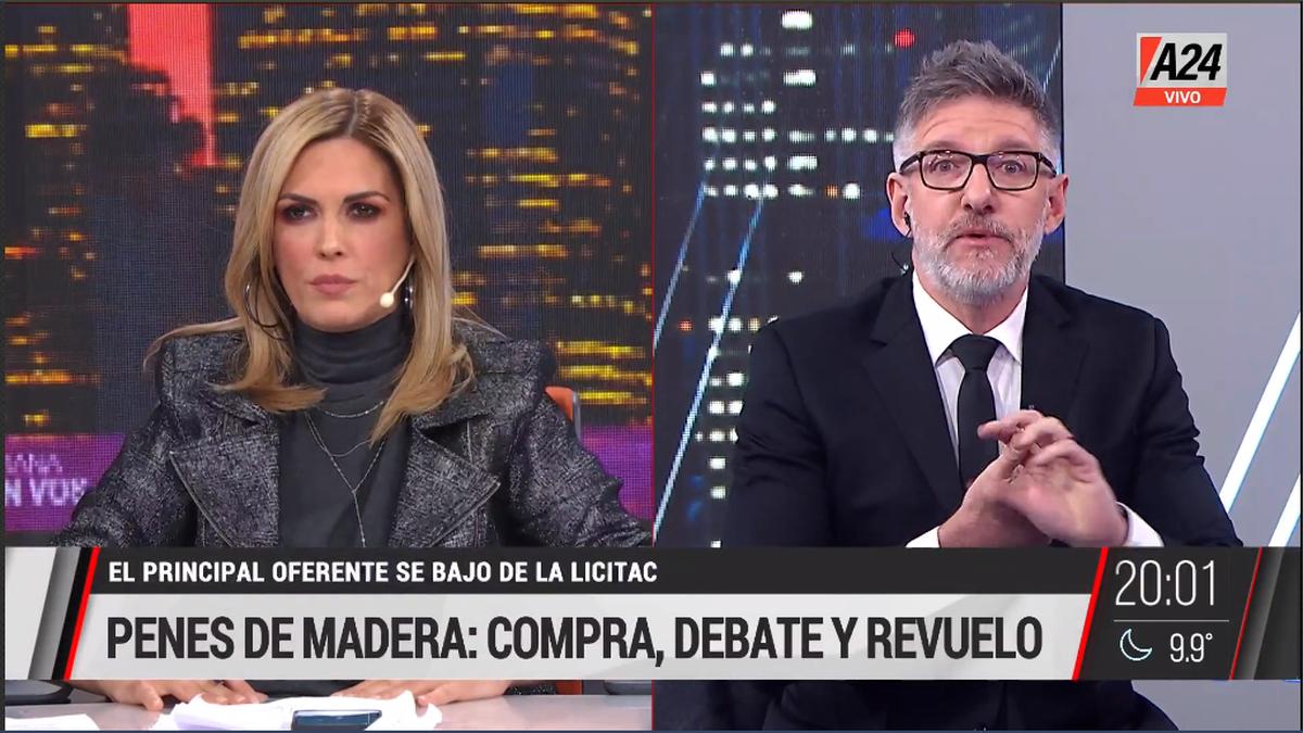 El cruce de Viviana Canosa y Luis Novaresio por los penes de madera (Foto: captura de TV).