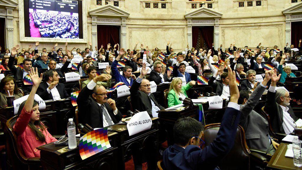 El Congreso, sin apoyo de Cambiemos, repudió el golpe de Estado en Bolivia