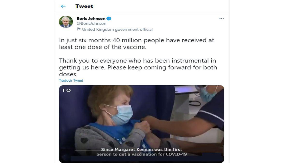 El premier Boris Johnson destacó que Gran Bretaña vacunó 40 millones de personas, al menos, con una dosis. (Foto: Cuenta de Twitter de Boris Johnson)