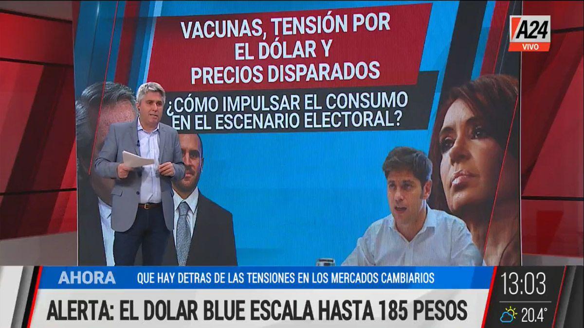 Guzmán asegura que el dólar está controlado pero el gobierno ve que la inflación sigue en ascenso (Foto: Captura de TV)