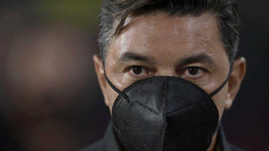 El gesto de bronca de Gallardo tras el gol de San Lorenzo