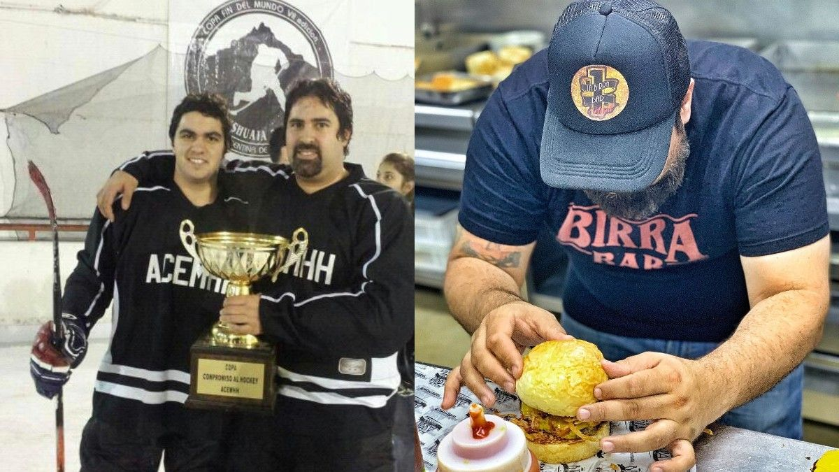 Daniel Cocchia junto a su hijo Renzo, su actual socio. Ganaron juntos un campeonato metropolitano de hockey sobre hielo. La dedicación al hacer las hamburguesas en uno de los locales. (Foto: Familia Cocchia)