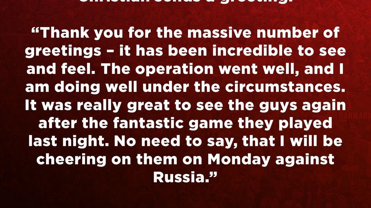 La Federación danesa contó el alta de Eriksen y agregó una declaración del jugador.