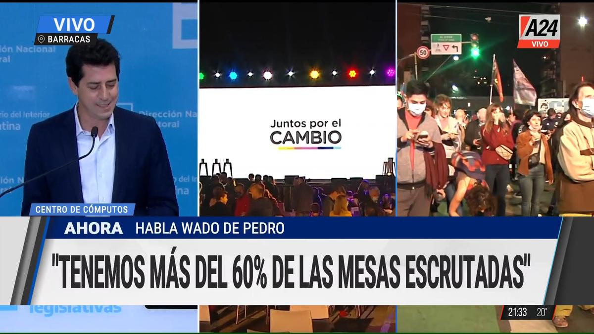 Elecciones PASO 2021: Eduardo Wado de Pedro dijo que hay un poco más del 60% de las mesas escrutadas.