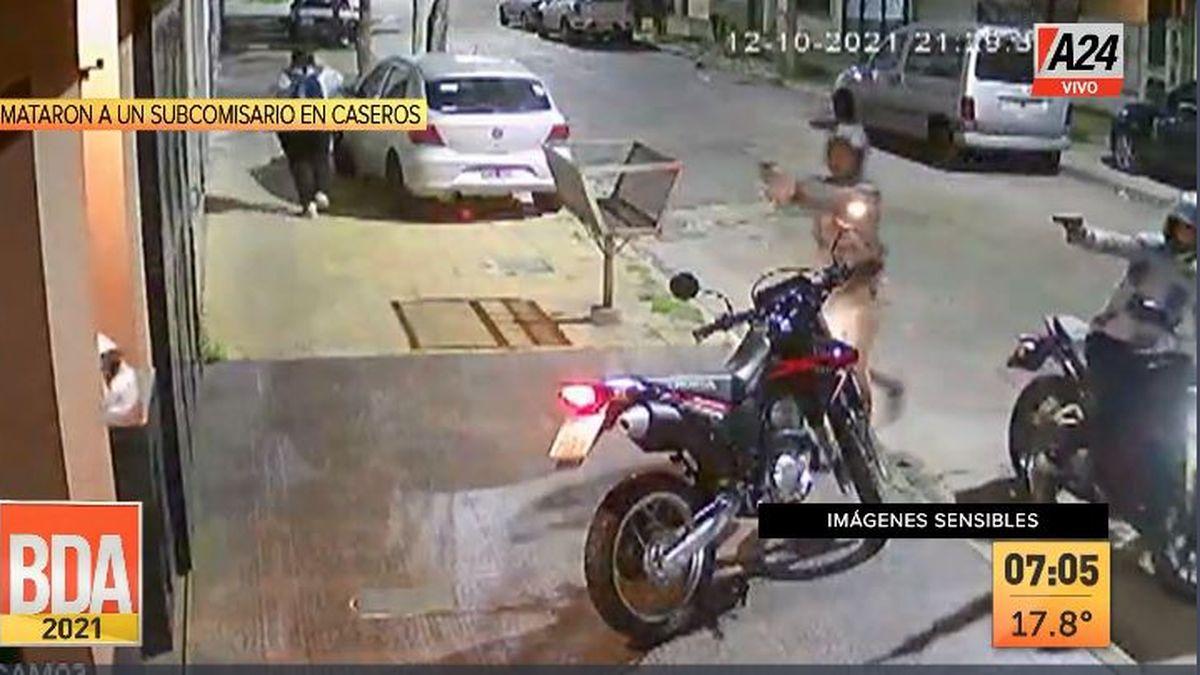 Caseros: robo y asesinato a quemarropas a un subcomisario. (Captura de Tv)