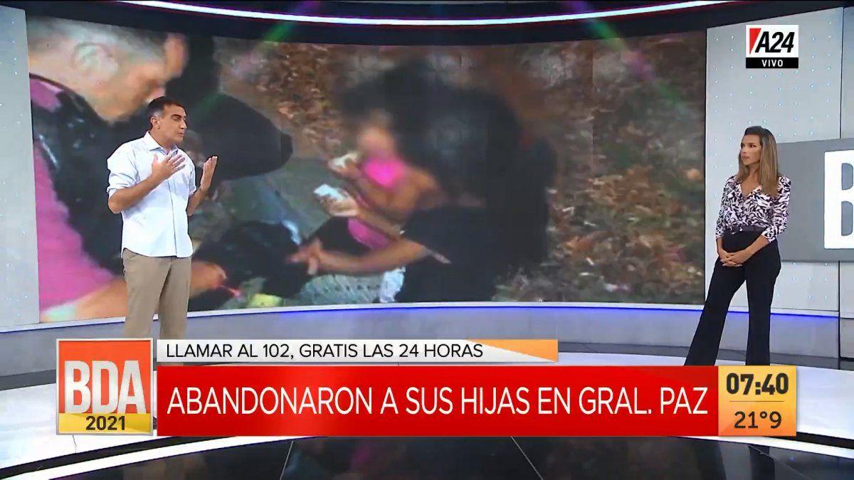 Dos nenas fueron abandonadas en la Av. General Paz y Antonio Laje instó a que los políticos tomen consciencia sobre su rol del Estado en los sectores vulnerables. (Captura de Tv)