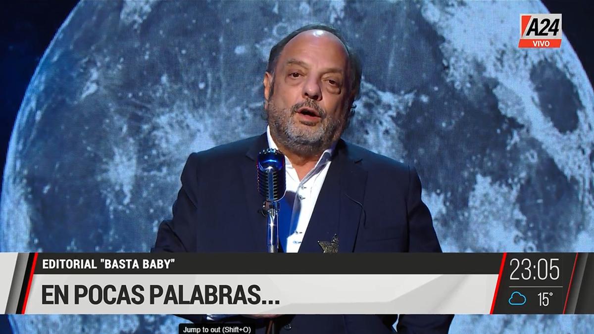 Baby Etchecopar criticó a duramente al Gobierno en su editorial En pocas palabras... (Foto: Captura TV A24).