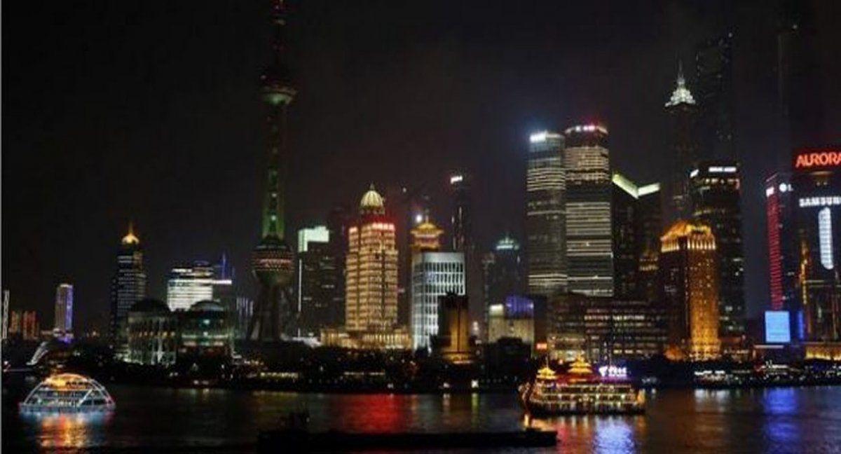 Vista nocturna de Shanghai