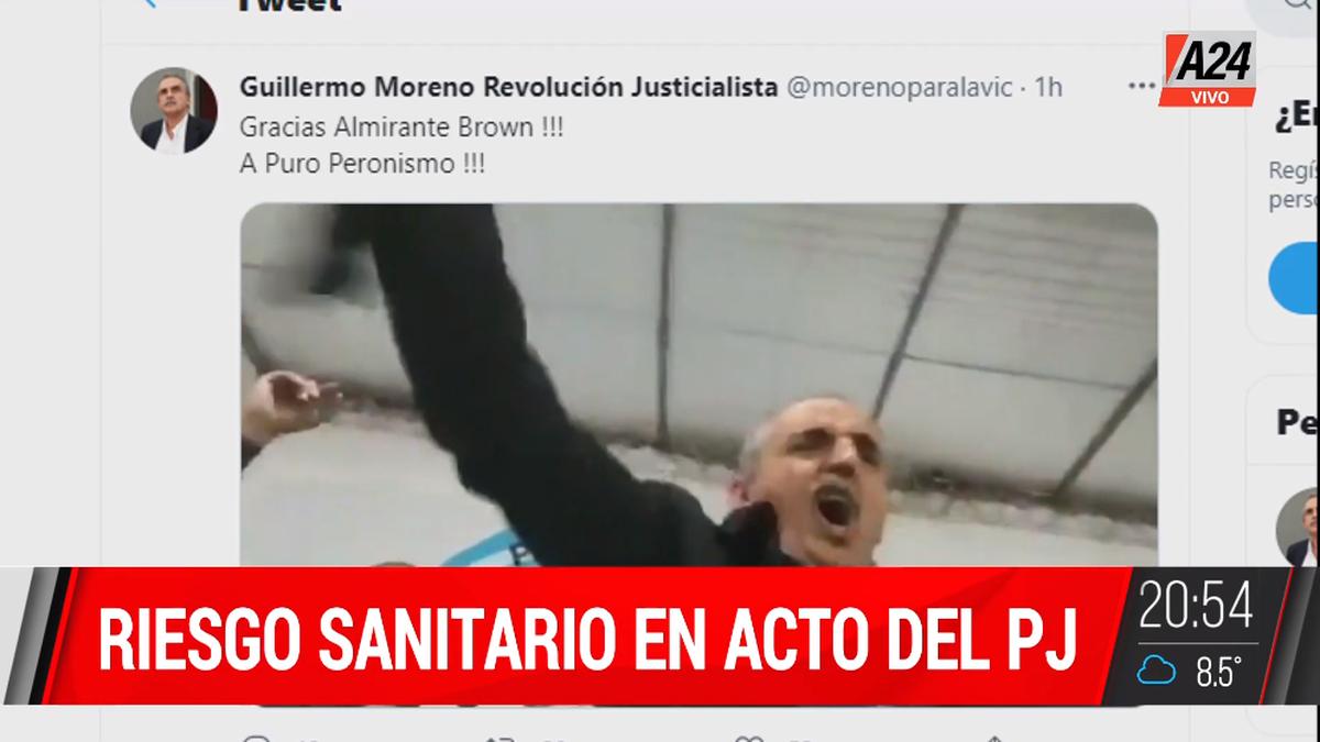 Guillermo Moreno rompió los protocolos del Covid-19 en un actor partidario en Almirante Brown (Foto: captura de televisión).
