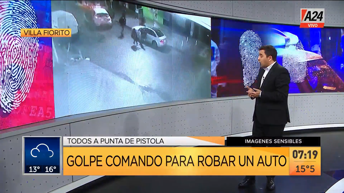 Villa Fiorito: golpe comando para robar un auto de alta gama. (Captura de Tv)