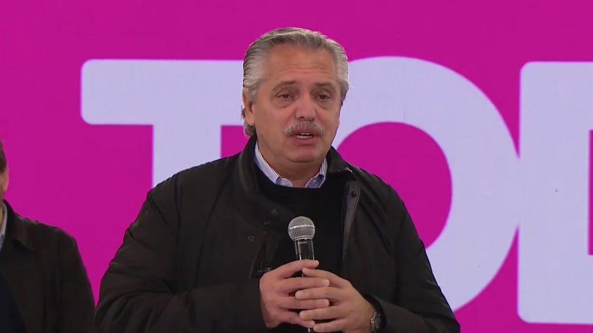 Alberto Fernández fue el encargado de encerrar el acto realizado en el partido de Escobar (Foto: captura de pantalla).