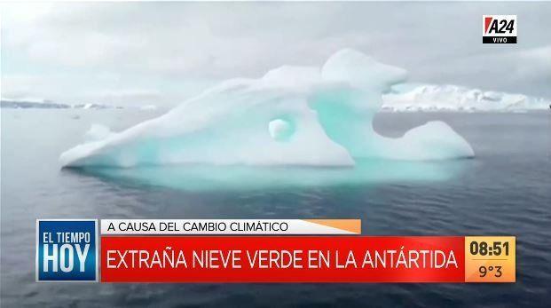 Por el cambio climático se vio una extraña nieve verde en la Antártida