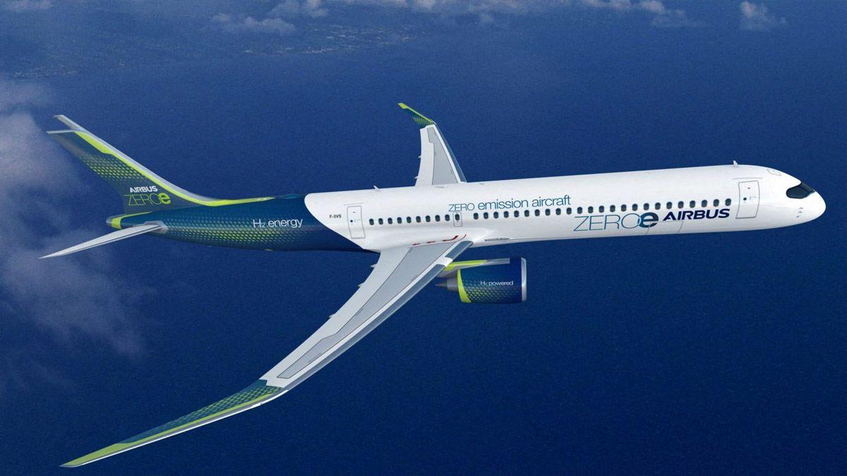 Airbus ha presentado sus planes para el primer avión comercial del mundo con cero emisiones, que estará propulsado por dos motores turbofan híbridos. (Foto: Alamy)