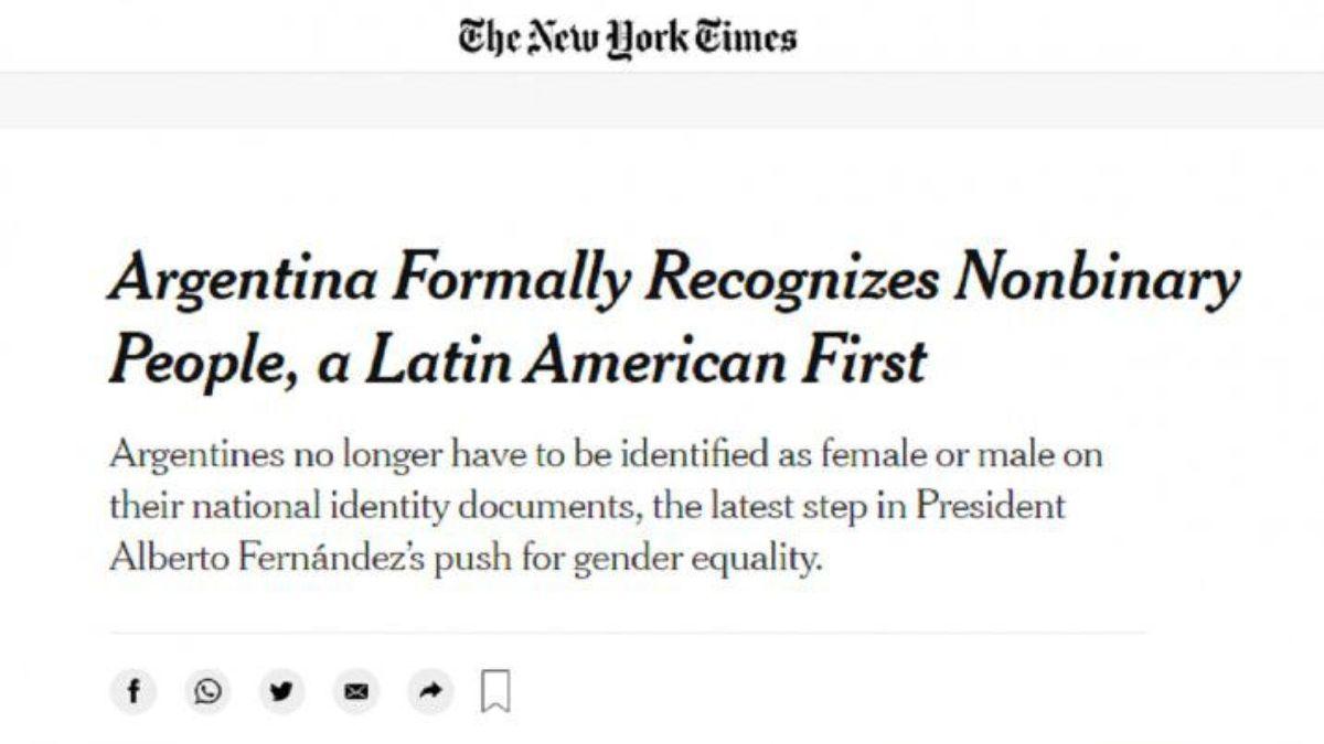 The New York Times elogió la decisión argentina de reconocer a las personas no binarias en el DNI (Foto: captura de internet)