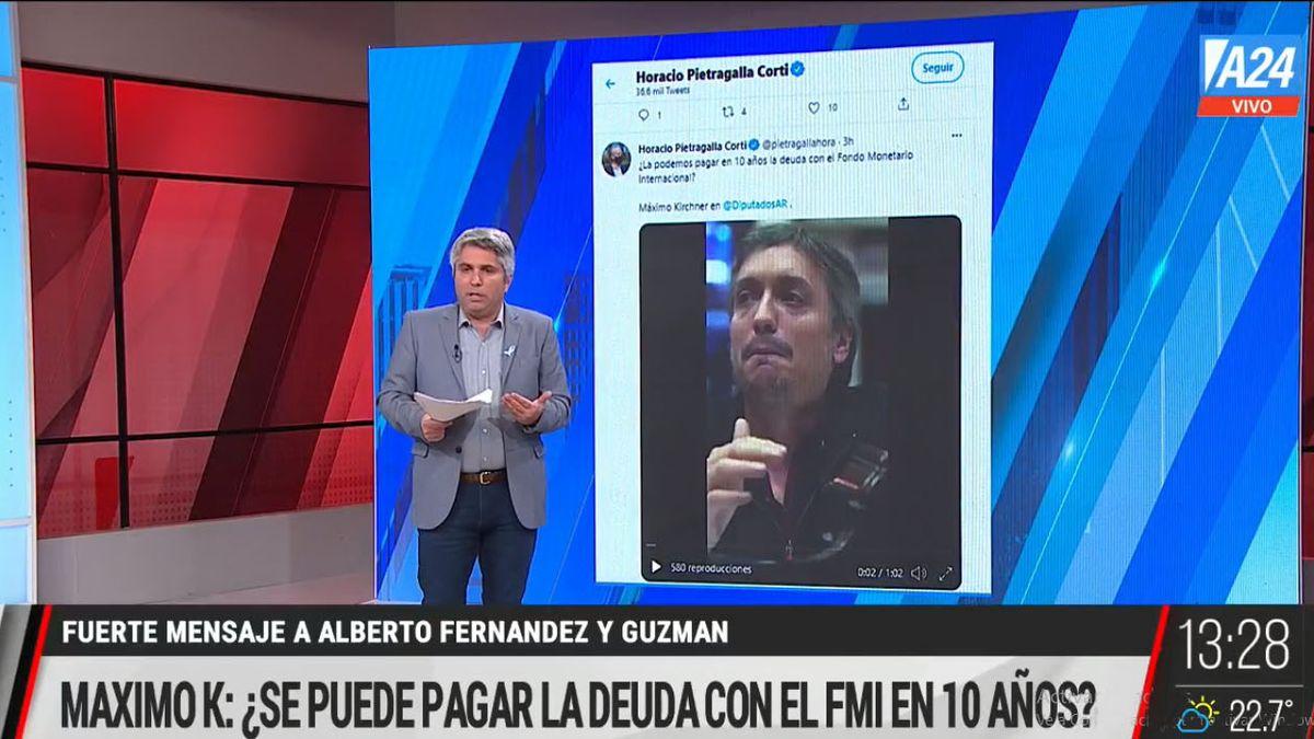 Máximo Kirchner envió un mensaje al ministro Guzmán y al presidente Fernández