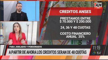 Créditos a jubilados y pensionados: se redujeron las cuotas de 60 a 48 con el fin de evitar un sobreendeudamiento del sector, informaron desde la ANSES (Foto: captura de TV A24).