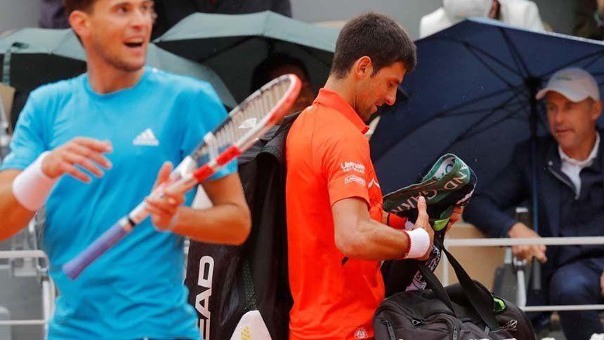 Roland Garros: A Djokovic y Thiem los frenó la lluvia y el rival de Nadal se definirá mañana