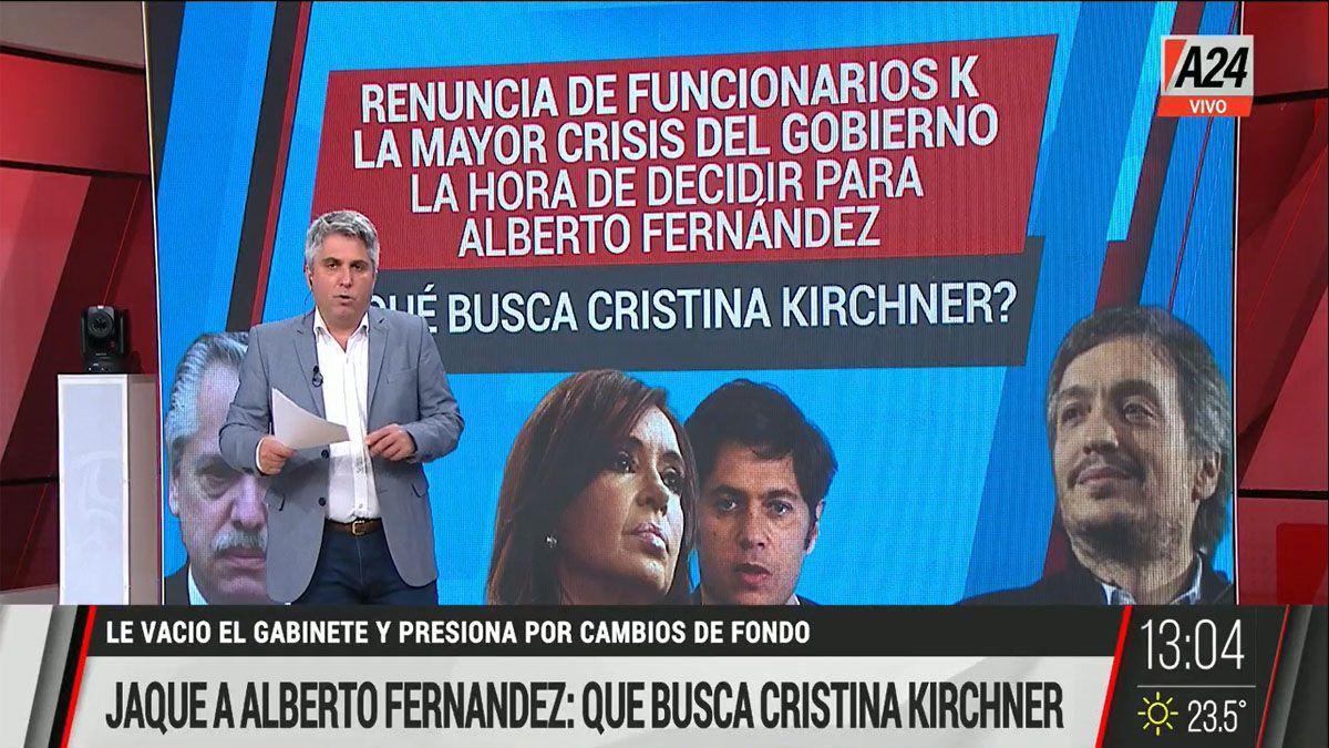 El presidente Alberto Fernández ante la crisis planteada por la renuncia de los funcionarios que responden a Cristina (Foto: Captura de TV)