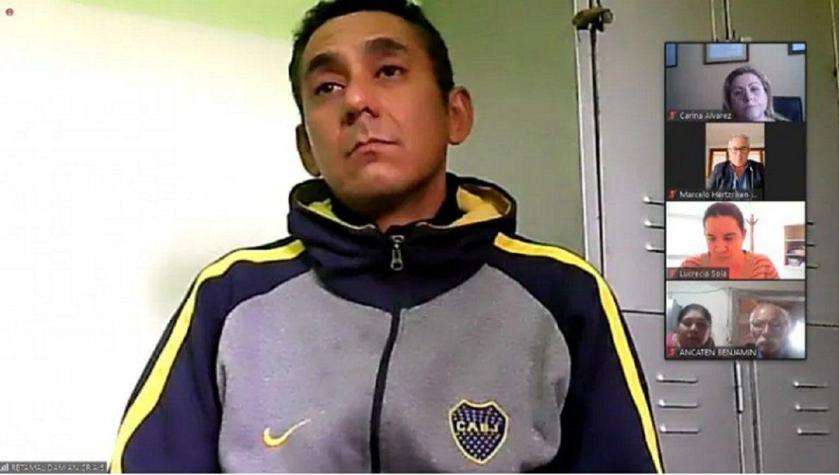 """Damián Retamal durante la presentación del MPF. Le imputaron por homicidiodoblemente agravado por el vínculo y por femicidio"""""""
