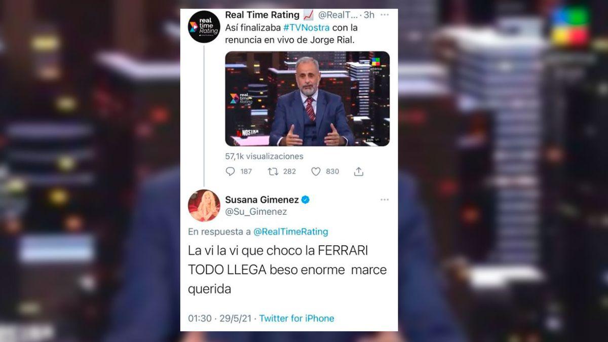 El tuit de Susana Giménez contra Jorge Rial